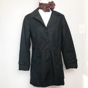 Merona Button Front Long Black Trench Coat